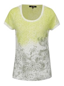 Bielo-zelené vzorované tričko s krátkym rukávom Yest