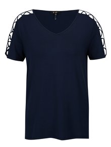 Tricou bleumarin cu bretele incrucisate pe maneci - Yest