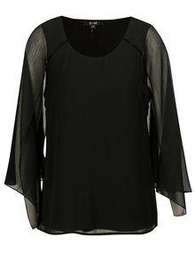 Bluza neagra cu maneci fluture cu decupaje - Yest