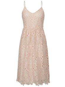 Světle růžové krajkové šaty na ramínka VILA Dalton