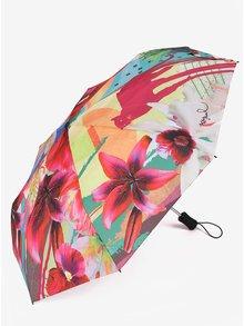 Tyrkysovo-růžový vzorovaný deštník Desigual Crhystal Gogo