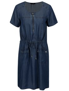 Rochie albastra din denim cu snur in talie - Yest