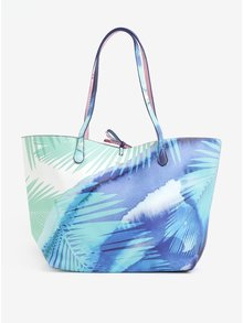 Modrý obojstranný shopper s puzdrom Desigual Blue palms capri