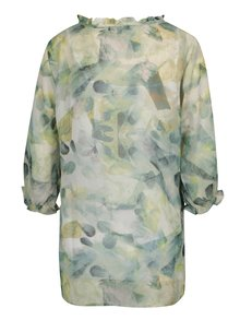 Tunica cu print abstract verde & crem si maneci 3/4 - Yest