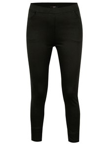 Čierne elastické skrátené nohavice so zipsami Yest