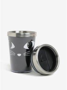 Čierny termohrnček s motívom mačky Sass & Belle