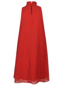 Červené šaty so stojáčikom a kvetovanou výšivkou Desigual Angy