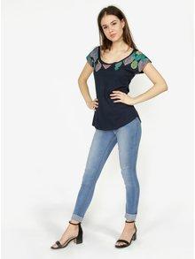 Tmavomodré tričko s potlačou Desigual Circe