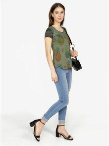 Kaki tričko s potlačou ananásov Desigual Camille