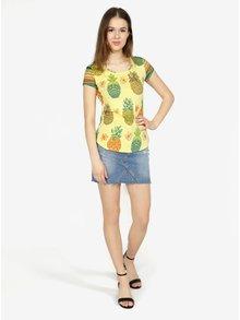 Tricou galben cu print ananas - Desigual Camille