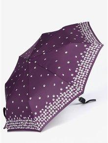 Fialový dámsky skladací vzorovaný dáždnik Doppler