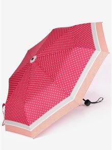 Růžový dámský puntíkovaný skládací deštník s.Oliver