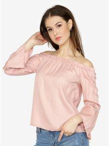 Bluza roz cu decolteu pe umeri si maneci clopot -  ONLY Sandy