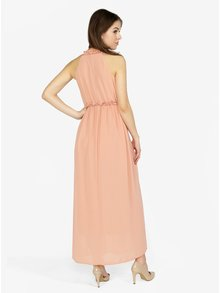 Rochie maxi roz cu pliuri si volane discrete - ONLY Ceremony