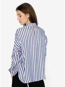 Krémovo-modrá pruhovaná košeľa s prestrihom na chrbte ONLY Luisa