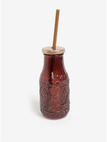 Sklenená fľaša so slamkou vo vínovej farbe Kaemingk