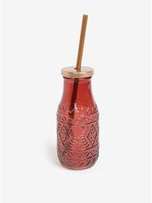 Skleněná láhev s brčkem v červené barvě Kaemingk