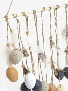 Závesná dekorácia s vajíčkami a pierkami v čiernej farbe Kaemingk