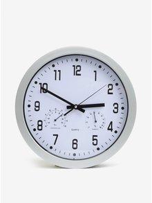 Kulaté nástěnné hodiny ve stříbrné barvě Kaemingk