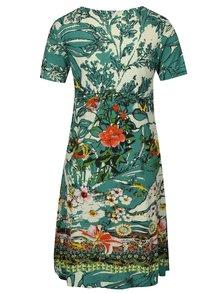Krémovo-zelené květované šaty s flitrovou dekorací Desigual Eleonor