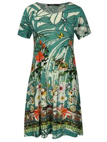 Krémovo–zelené kvetované šaty s flitrovou dekoráciou Desigual Eleonor