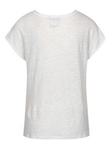 Tricou alb&albastru cu print - Desigual Bernice