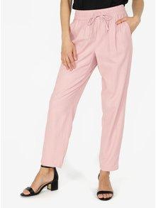Pantaloni lejeri roz cu talie elastica VERO MODA Masta Milo