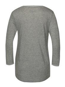 Sivé melírované vzorované tričko s 3/4 rukávom Desigual Damon