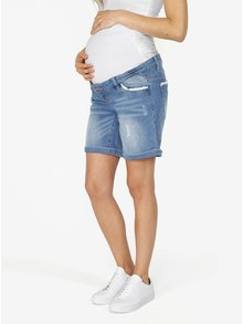 Modré tehotenské slim fit kraťasy s čipkou Mama.licious Riga