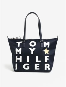 Tmavomodrá dámska kabelka s potlačou Tommy Hilfiger