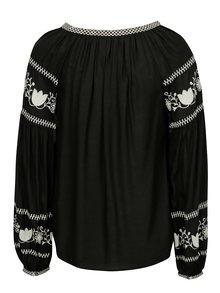 Bluza neagra cu broderie si ciucuri - Dorothy Perkins