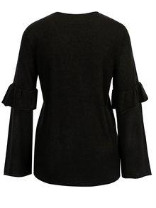 Černý svetr s volány na rukávech Jacqueline de Yong Stardust