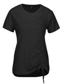 Tricou negru cu terminatie asimetrica si snur ajustabil - ONLY Merle