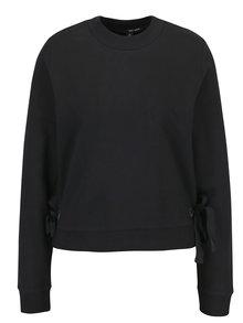 Bluza sport neagra cu funde decorative laterale - TALLY WEiJL