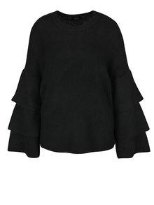 Pulover negru cu maneci raglan cu volane ONLY Flower