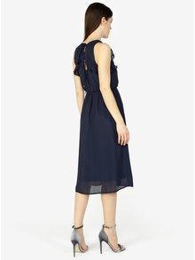 Tmavě modré šaty s volány VERO MODA Iris