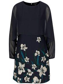 Tmavomodré kvetované šaty s dlhým rukávom Dorothy Perkins