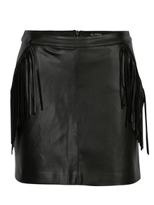 Čierna koženková sukňa so strapcami Miss Selfridge