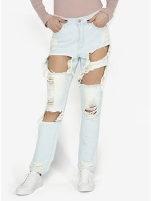 Mom jeans bleu cu rupturi MISSGUIDED
