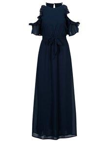 Rochie cold shoulder bleumarin cu volane si cordon in talie - Mela London