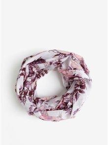 Růžovo-krémový květovaný dutý šátek Pieces Gista