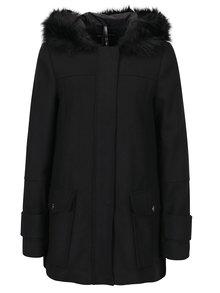 Palton scurt negru cu gluga cu blana artificiala Dorothy Perkins