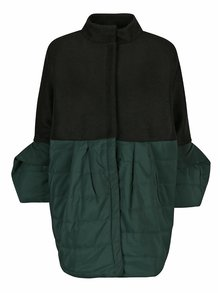 Černo-zelený prošívaný vlněný kabát s balónovými rukávy Framboise Nola