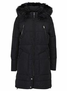 Čierny páperový prešívaný kabát s kapucňou ONLY Rhoda