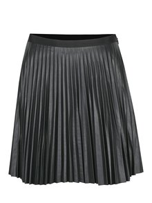 Černá koženková plisovaná sukně VERO MODA Josefine