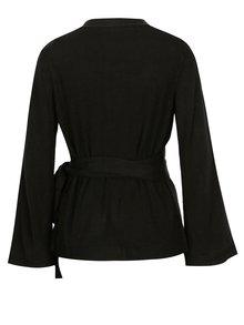 Pulover negru cu croi suprapus si cordon Jacqueline de Yong Bella