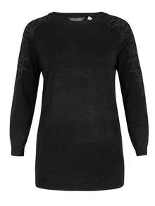 Čierny sveter s čipkou a prestrihmi na ramenách Dorothy Perkins Curve