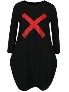 Čierne balónové šaty s potlačou a 3/4 rukávom Mikela da Luka