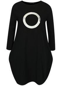 Čierne balónové šaty s potlačou v striebornej farbe Mikela da Luka