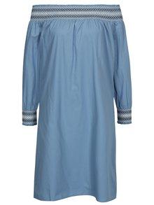 Modré šaty s odhalenými rameny VILA Adiniana